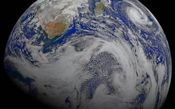 This composite image of southern Africa and the surrounding oceans was captured by six orbits of the NASA/NOAA Suomi National Polar-orbiting Partnership spacecraft on April 9, 2015, by the Visible Infrared Imaging Radiometer Suite (VIIRS) instrument. Tropical Cyclone Joalane can be seen over the Indian Ocean. Credit: Ocean Biology Processing Group at NASA's Goddard Space Flight Center